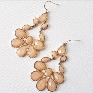 Jewelry - Peach & Gold Colored Chandelier Earrings